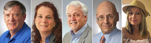 This photo combination shows the victims of the shooting in the newsroom of the Capital Gazette in Annapolis, Md., on Thursday, June 28, 2018. From left, John McNamara, Wendi Winters, Rob Hiaasen, Gerald Fischman and Rebecca Smith. (The Baltimore Sun via AP)