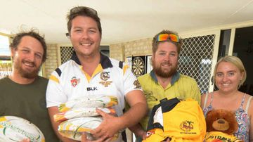 Kieron Simpson, Jackson Smith, Mitch O'Maley and Lisa Young with some of the donated goods. (The Sunshine Coast Daily)