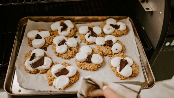 Anzac biscuits with chocolate and marshmallow