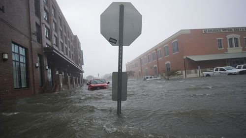 Downtown Pensacola, Florida is completely flooded.