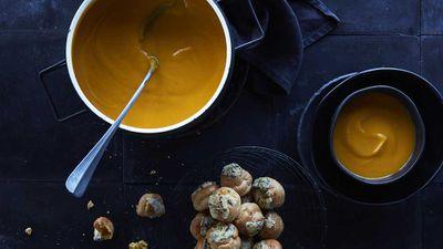 "Recipe:&nbsp;<a href=""http://kitchen.nine.com.au/2017/07/14/11/49/mark-bests-pumpkin-soup-and-blue-cheese-choux-puffs"" target=""_top"">Mark Best's pumpkin soup and blue cheese choux puffs</a>"