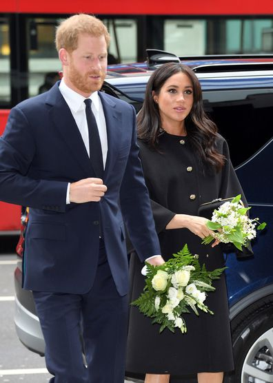 Prince Harry, Duke of Sussex and Meghan, Duchess of Sussex arrive at New Zealand House to sign the book of condolence after the recent terror attack.