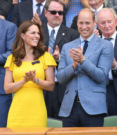 The Duchess of Cambridge in Dolce & Gabbana and Prince William at Wimbledon 2018
