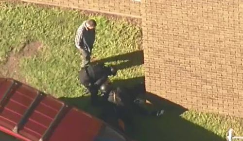 One man was arrested at the scene. (9NEWS)