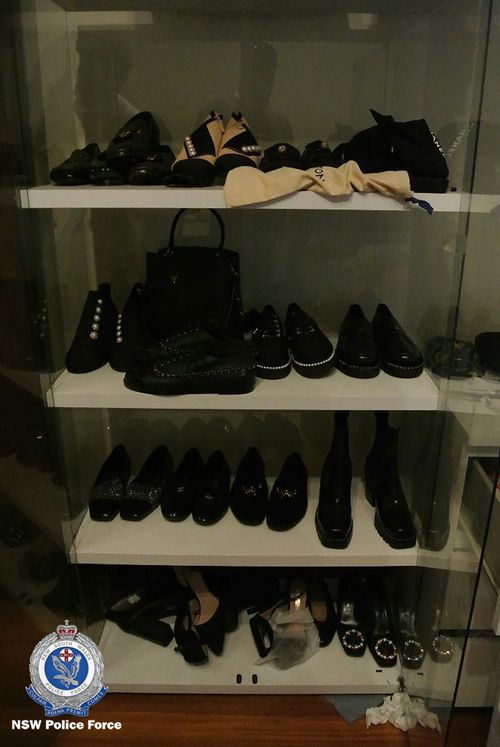 Officers seized 15 pairs of high-end women's shoes including brands such as Gucci and Louis Vuitton.