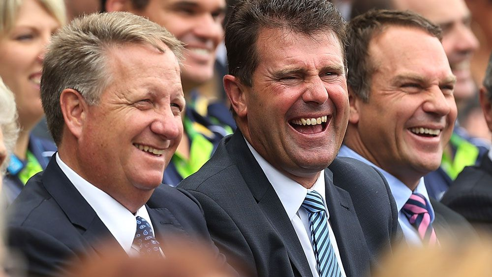 Channel Nine colleagues Ian Healy, Mark Taylor and Michael Slater. (Getty)