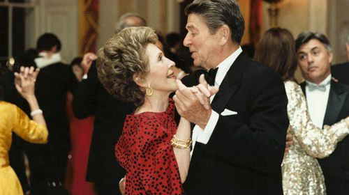 Nancy and Ronald Reagan dancing in the White House. (Getty)