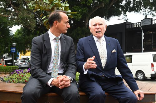 Former Prime Minister John Howard joined Mr Sharma on his rounds in Wentworth two days out from the election.