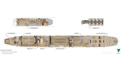 The floor plan for the Boeing 747-8 plane which includes a hideaway 'Aeroloft' that offers an escape. (Greenpoint Technologies)