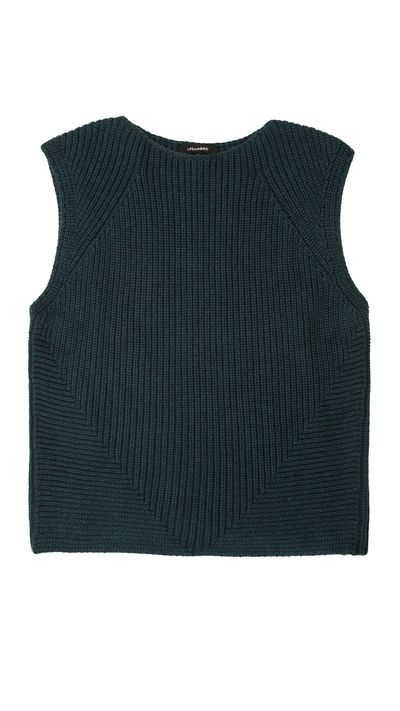 """<a href=""""http://www.lifewithbird.com/collections/all/products/32-adapted-sweater-vest-spruce"""" target=""""_blank"""">Vest, $245, LIFEwithBIRD</a>"""