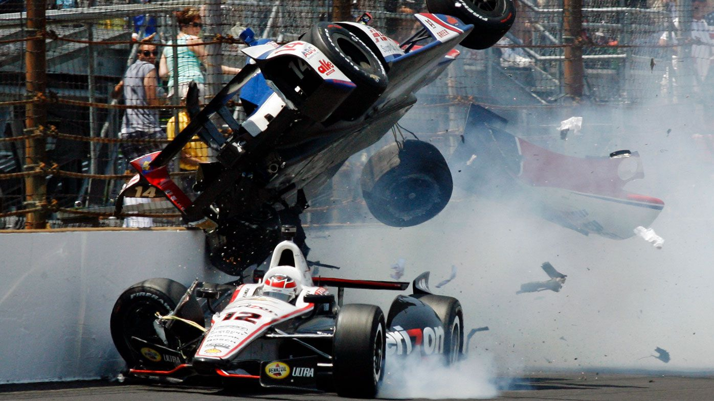 Will Power and Mike Conway collide during the 2012 Indy 500
