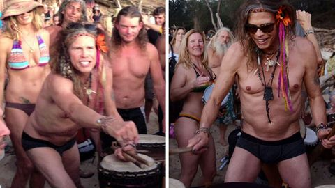 Watch: Aerosmith's Steven Tyler plays bongos while bouncing in undies