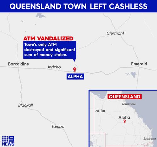 Rural town left cashless after only ATM vandalised