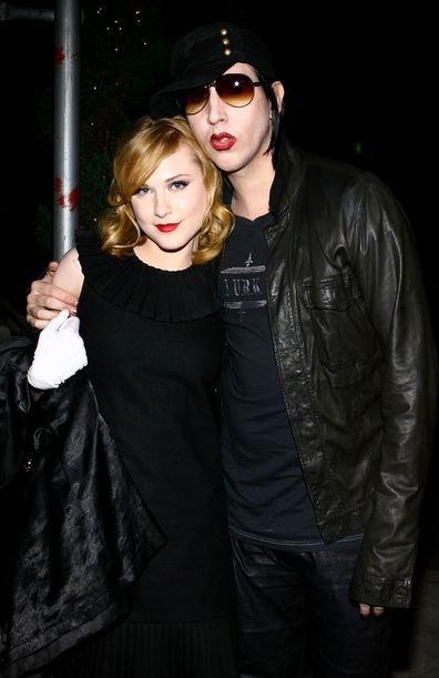 "Actress Evan Rachel Wood and musician Marilyn Manson arrive for the after party for a special screening of ""Across The Universe"" at Bette on September 13, 2007 in New York City."