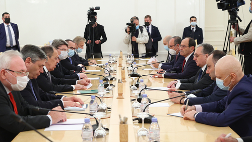 In this Oct. 12, 2020, file photo released by Russian Foreign Ministry Press Service, Russian Foreign Minister Sergey Lavrov, third from left, meets with Armenia's Foreign Minister Zohrab Mnatsakanyan in Moscow, Russia.