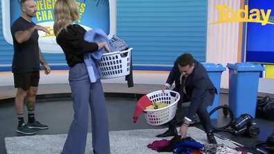 Commando Willis showed Langdon and Stefanovic how to incorporate exercise into chores.