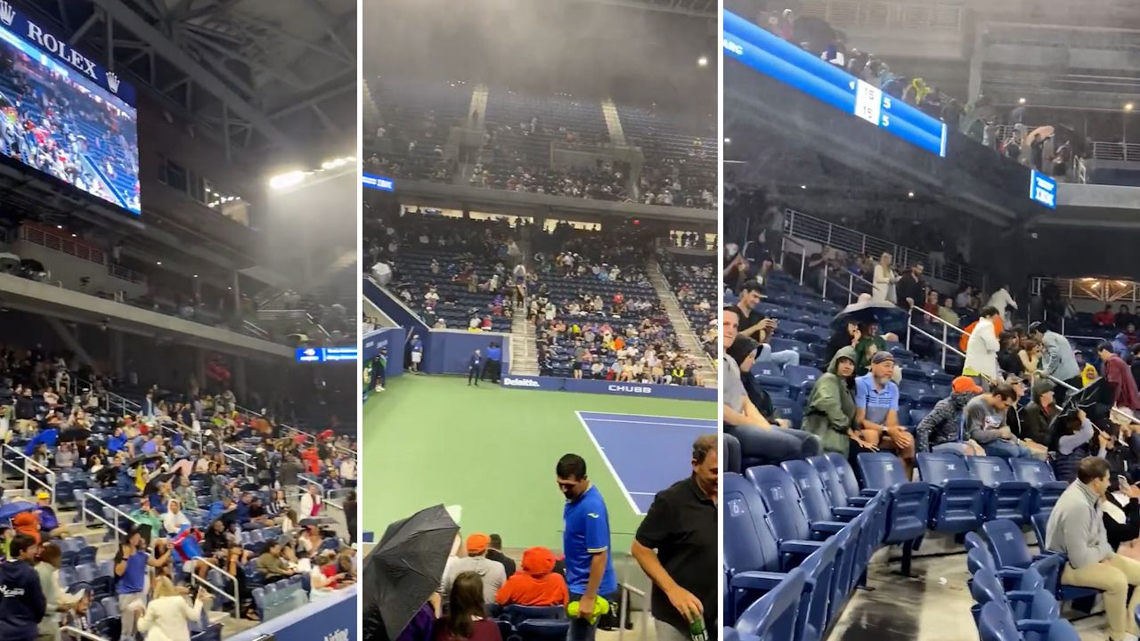 Men's second round match turns to 'shambles' after rain swamps Louis Armstrong stadium with roof on