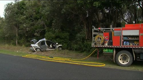 The crash unfolded on Crowdy Head Road yesterday afternoon. (9NEWS)