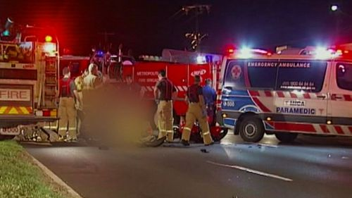 Police believe the motorcyclist crashed into the back of the fire truck in Melbourne's west. (9NEWS)