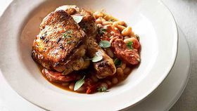 Paprika roast chicken with chorizo and white beans