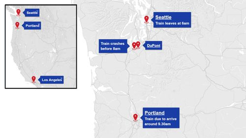 The train left Seattle around 6am local time and was heading to Portland. (9NEWS)