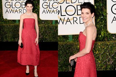 <i>The Good Wife</i> star cuts it up in crimson.