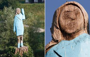 Wooden Melania Trump statue in Slovenia draws mixed reactions