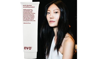 """<a href=""""http://evohair.com/au/products/hair/needs/curl/end-doctor-smoothing-sealant"""" target=""""_blank"""">Evo's End Doctor Soothing Sealant</a> kept blow-dried hair smooth and shiny at Tome.&nbsp;"""