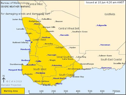 190610 Weather forecast WA severe warning BoM dangerous winds surf tides news Australia