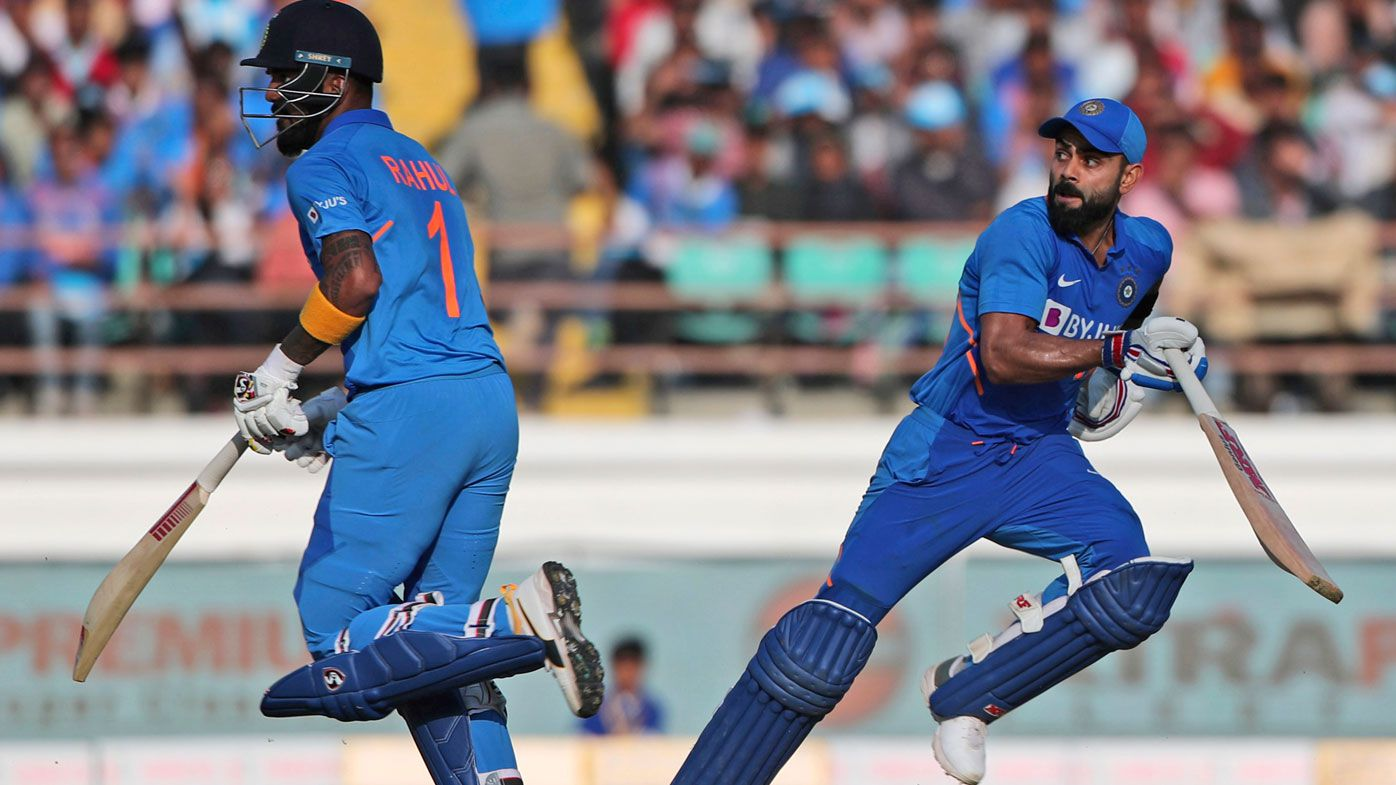 India's captain Virat Kohli, right, and Lokesh Rahul run between the wickets during the second one-day international cricket match