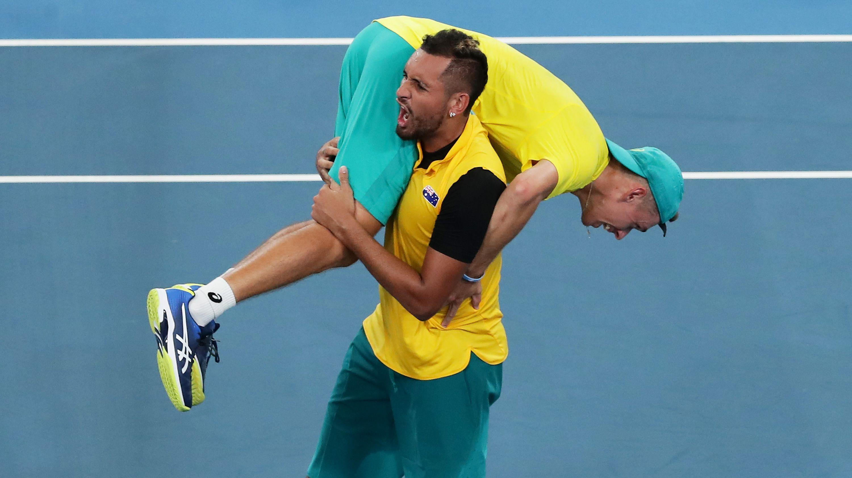 Alex de Minaur and Nick Kyrgios of Australia celebrate at the 2020 ATP Cup.