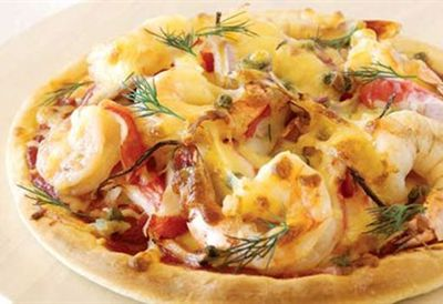 "Recipe: <a href=""/recipes/iprawn/8361138/surimi-and-prawn-pizza"">Surimi and prawn pizza</a>"