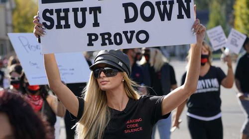 Paris Hilton is protesting to close down a school where she said she was abused and mistreated.
