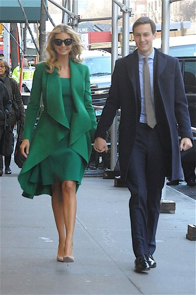 Ivanka's dress was nipped in at the waist emphasising her trim figure and complemented by a matching coat. Husband Jared opted for traditional attire - a sky blue shirt, cream tie and navy coat.