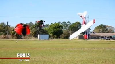 The tussle sent both the plane and skydiver crashing to the ground.