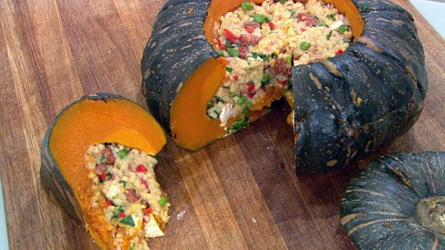 Paella-filled whole pumpkin