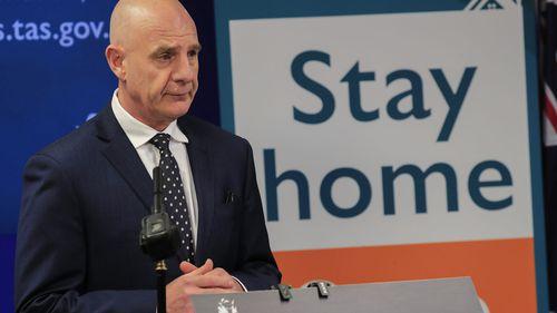 Tasmanian Premier Peter Gutwein provides a media update on Tasmania's COVID-19 situation in Hobart, Thursday, April 30, 2020