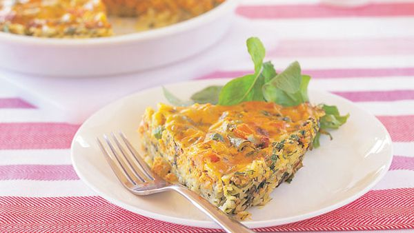 Salmon and vegetable rice pie