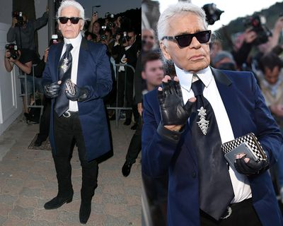 <p>Karl Lagerfeld's tie. An honorable mention also goes to his bag, and his commitment to making man clutches a thing.</p>