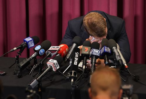 Warner dodged questions about whether anyone else knew of the ball tampering incident apart from Steve Smith, Cameron Bancroft and himself, and refused to say whether he was the one to orchestrate the plot.  (AAP)