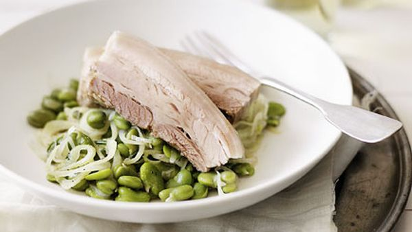 Salt-cured pork belly with broad bean ragout