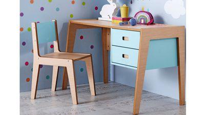 """<a href=""""http://www.domayneonline.com.au/bedroom/kids-bedroom/kids-furniture/sleigh-2-drawer-desk.html"""" target=""""_blank"""" draggable=""""false"""">Domayne The Sleigh 2 Drawer Desk, $729 and&nbsp;The Sleigh Chair, $169.</a>"""