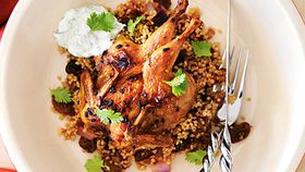 Moroccan quail with coriander yoghurt and couscous
