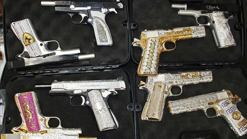 Decorated guns seized by police from the Sinaloa cartel.
