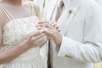 Wedding rings during ceremony