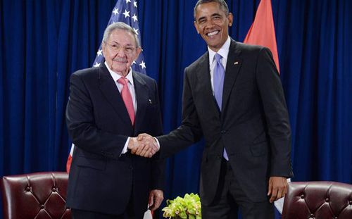 President Obama meeting with Cuban President Raul Castro in New York in September last year. (Getty)