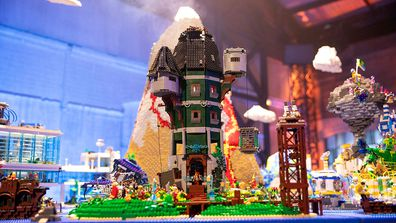 Dannii and Tim's Wizard Tower Build from the 'a whole new world' challenge in LEGO Masters Australia.