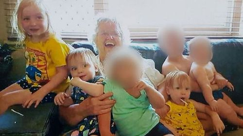 Victim Beverley Quinn with her grandchildren: Charlotte, aged three, and two-year-old twins Alice and Beatrix.
