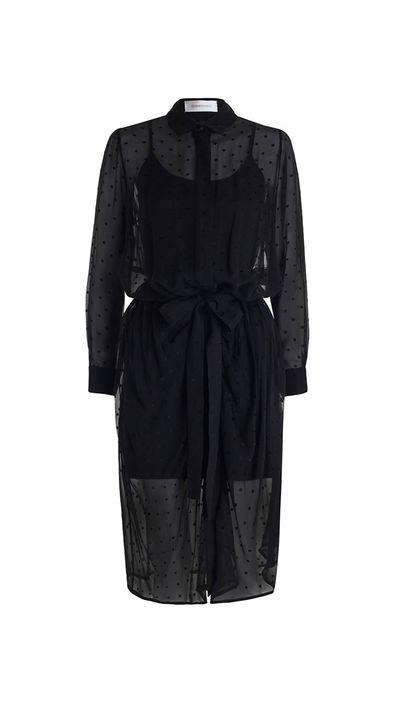"""<a href=""""http://www.zimmermannwear.com/readytowear/fortune-burnout-wrap-dress-black.html"""" target=""""_blank"""">Dress, $420, Zimmermann</a>"""