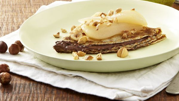 Crepes with Nutella, poached pears and toasted hazelnuts